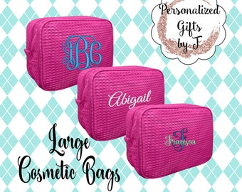 Fuschia Bridesmaid Makeup Bag, Bridesmaid Waffle Cosmetic Bags, Bridal Party Gift, Bridesmaids Bag, Personalized Bridesmaid Gifts, Monogram