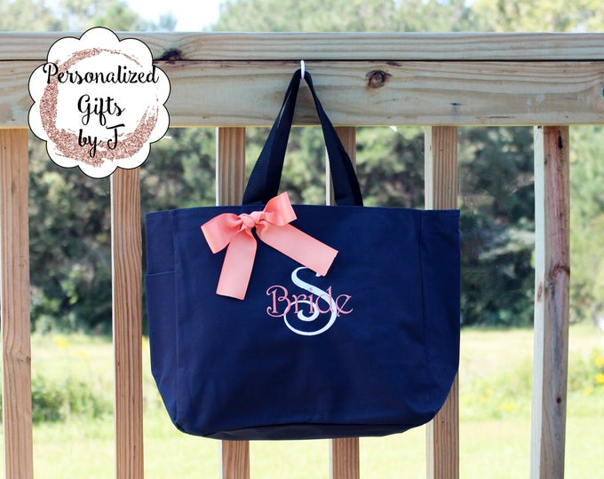 Personalized Tote Bags, Set of 8, Wedding Party Gifts, Embroidered (ESS1)