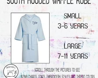 Light Blue Youth Robe, Kids Robe, Hooded Waffle Robe, Gift under 20, Child Robe