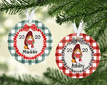 Personalized Christmas Ornament, Christmas Gnome Personalized Ornament, Buffalo Check Holiday Ornament,