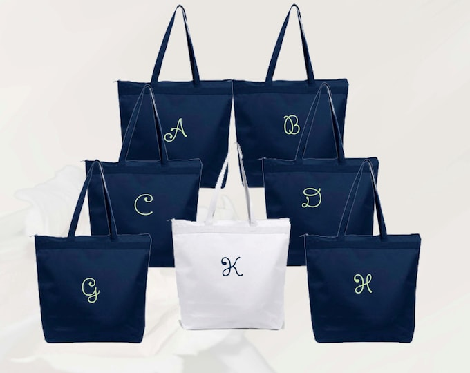 Personalized Zippered Tote Bag Bridesmaids Gifts Set of 14- Embroidered Tote - Maid of Honor Gift - Name Tote- Mother of the Bride/ Groom