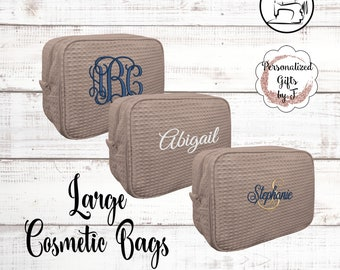 Taupe Bridesmaid Makeup Bag, Bridesmaid Cosmetic Waffle Bag, Bridesmaid Bag, Monogrammed Bag, Personalized Bridal Party Gift