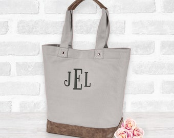 Custom vegan leather and canvas tote bag, Embroidered, purse shoulder messenger bag, personalized