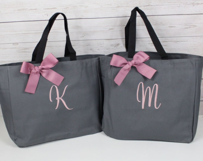 8 Personalized Embroidery Monogrammed Tote Bags Bridesmaid Gift Tote Bag  Bridesmaids Totes, Personalized Tote, Gift for her (ESS1)