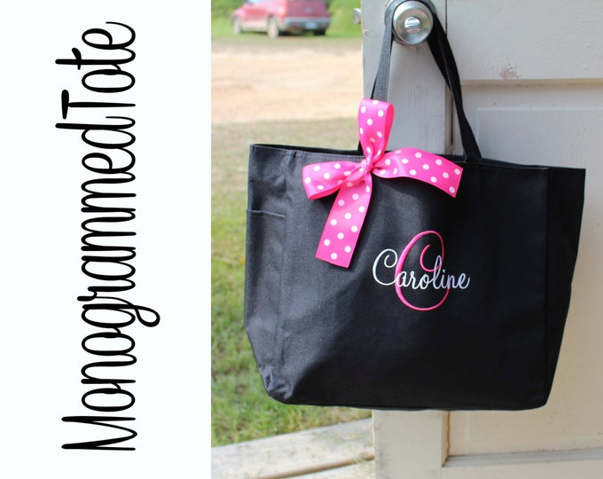 Set of 8 Monogrammed Totes Bridesmaids Gift Tote Bags Personalized Bridesmaid Tote Wedding Party Gift Name Tote Custom Tote Black Hot Pink