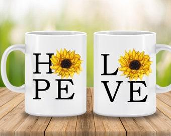 Fall Mug, Hope Sunflower Fall Coffee Cup, Love Sunflower Mug