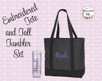 bridesmaid gift set, Custom Gift Set, monogrammed tote, personalized tumbler set, Bridesmaids Tote, and Tumbler Set