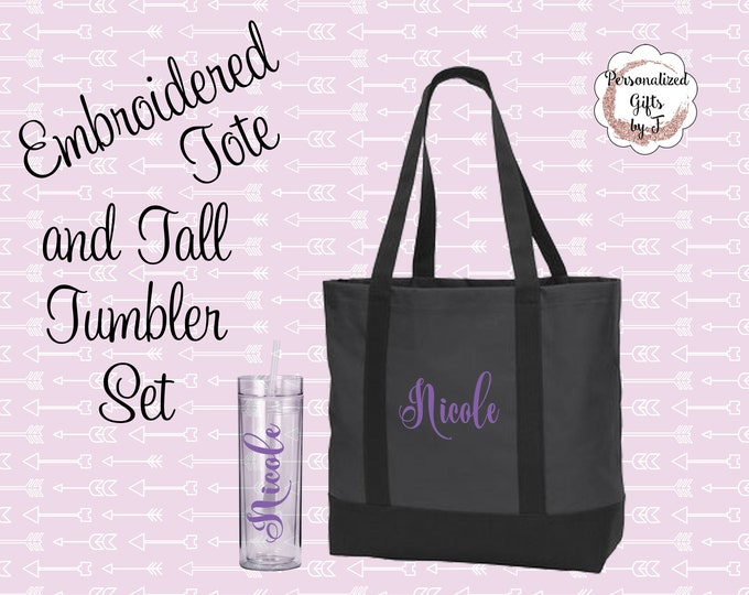 bridesmaid gift set, Custom Gift Set, monogrammed tote, personalized tumbler set, Bridesmaids Tote, and Tumbler Set