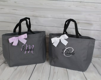 Personalized Cheer Dance Beach Bridesmaid Gift Tote Bag Personalized Tote Bridesmaids Gift Monogrammed Tote Gray Lilac Lavender