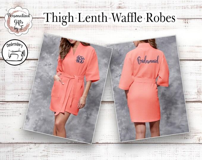 Coral Waffle Robe