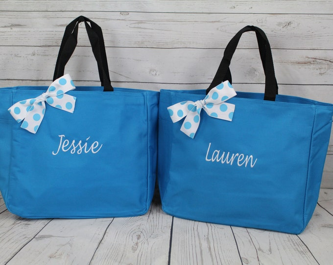 Set of 3 Personalized Bridesmaids Gift Tote Bags- Bridesmaids Gift- Personalized Bridesmaid Tote - Wedding Party Gift - Name Tote- (ESS1)