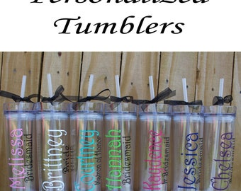 Set of 3 Personalized Bridesmaid Tumblers Glass Personalized Tumbler, Bridesmaid Gift, Bachelorette Party, Bridesmaid Glass