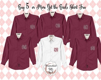 Monogrammed Getting Ready Shirt, Oversized Bridal Party Shirt, Set of 6, 7, 8, 9, 10, 11, 12, Personalized Oversized Shirt Bridesmaids Gift