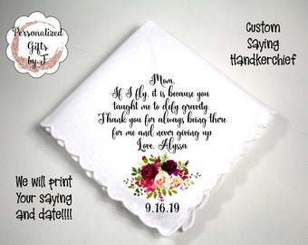 Mother gift custom hanky custom saying handkerchief Gift for her design bordo2