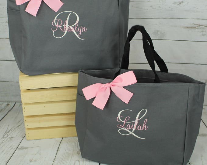 Set of 6 Bridesmaid Tote Bags Monogrammed Tote, Bridesmaids Gift, Personalized Tote, Wedding Day Tote Bag, Bridal party tote (ESS1)