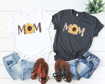 Boho Mom Shirt, Leopard Print Mom shirt, Sunflower shirt,
