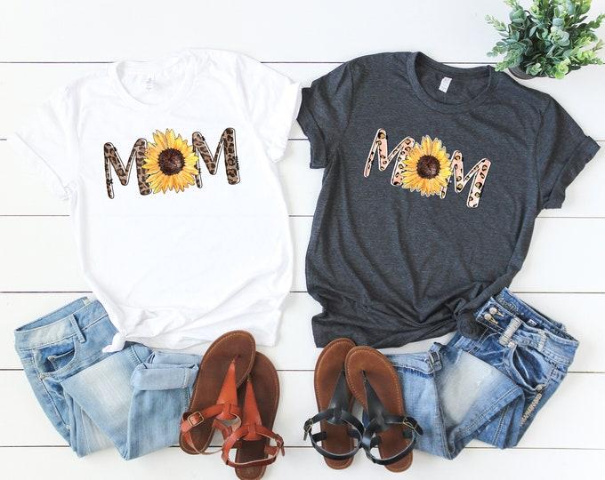 Boho Mom Shirt, Leopard Print Mom shirt, Sunflower shirt,