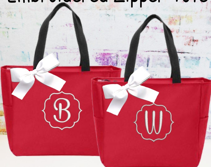 Monogrammed Bag, Zipper Tote Bag, Monogrammed Tote, Embroidered