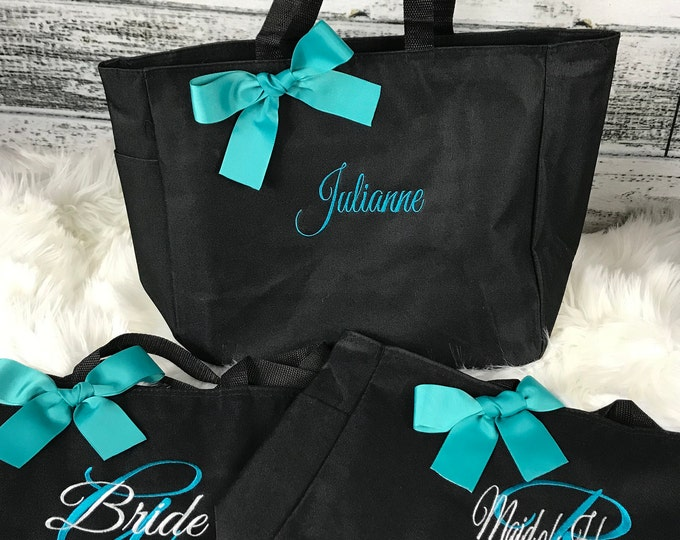 8 bridesmaid Wedding tote bags , bridesmaid gifts , tote bag , beach bag , bachelorette party gift ,wedding bag , maid of honor