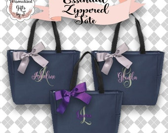 10 Personalized Bridesmaid Gifts, Zipper Tote Bags, Personalized Tote, Monogrammed Tote, Maid of Honor Tote Bag, Wedding Day Tote ESZ1
