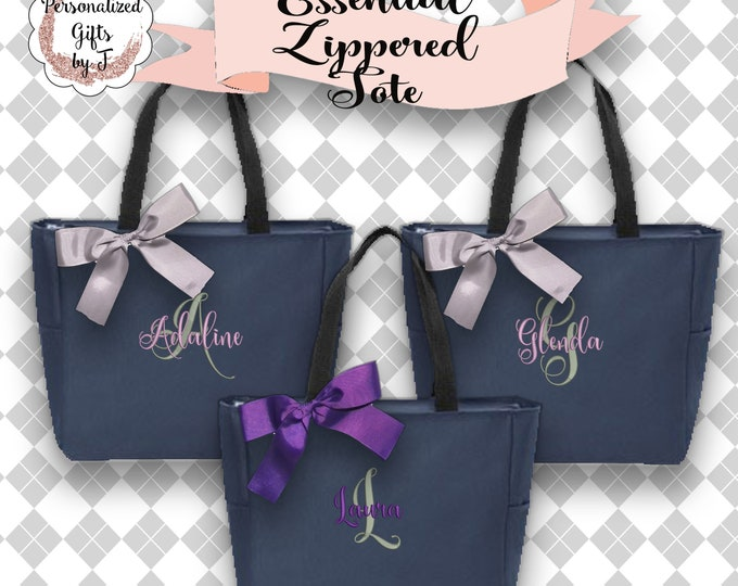 2 Personalized Bridesmaid Gift Tote Bags Personalized Tote, Bridesmaids Gift, Monogrammed Tote, Zipper Tote Bag ESZ1