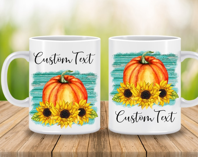 Custom Fall Mug, Sunflower and Pumpkin Fall Coffee Cup, Personalized Gift