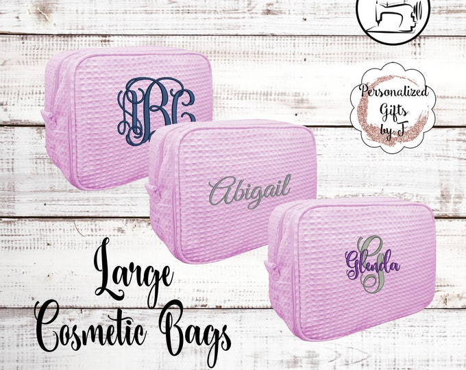 Pink Personalized Makeup Bag, Bridesmaid Cosmetic Waffle Bag, Bridesmaid Bag, Monogrammed Bag, Personalized Bridal Party Gift