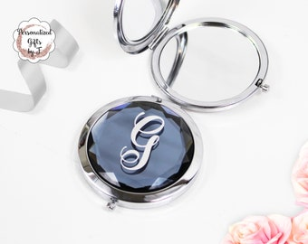 Steel Blue Jeweled Compact Mirror