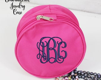 Hot Pink Monogrammed Jewelry Case, Travel Jewelry Case,