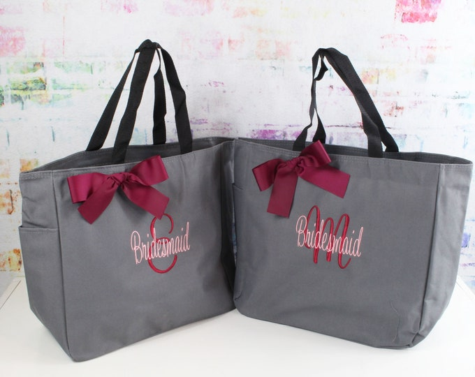 7 Bridesmaid Tote Bags, Bridesmaids Gifts, Personalized, Monogrammed, Embroidery, Wedding Day Totes, Bridal Party Gifts (ESS1)