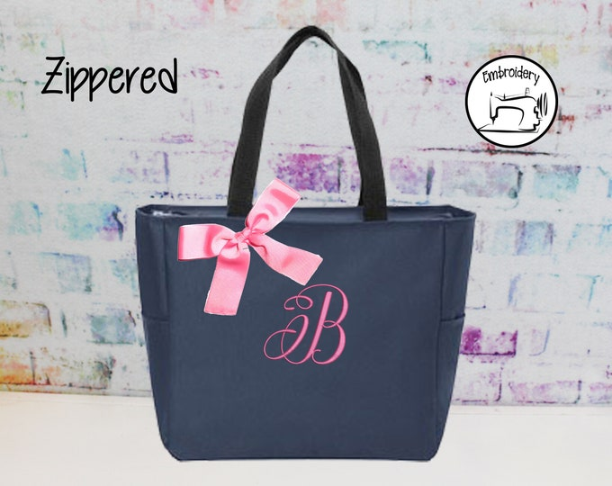Monogrammed Bag, Zippered Personalized Tote, Initial Tote Bag, Bridesmaid Gift (ANZ1)