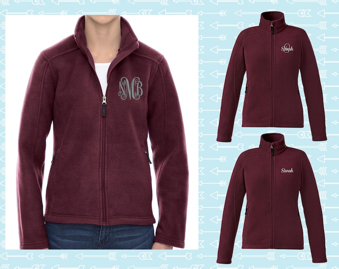 Monogrammed Fleece Jacket, Full Zip Womens Jacket, Christmas Gift for Her, Personalized Coat, Womens Fleece Jacket