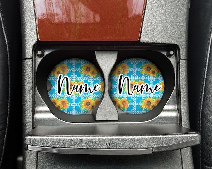 Custom Car Coaster Set of 2, Sunflower design, Turquoise Car coaster, Personalized gift