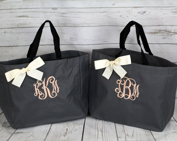 Set of 5 Personalized Bridesmaid Gift Tote Bags Monogrammed Tote, Bridesmaid Tote, Personalized Tote, Bridesmaids Gift (ESS1)
