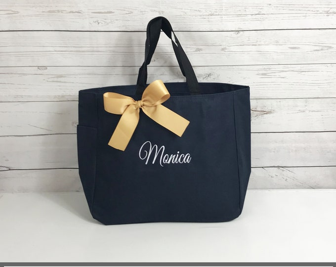 5 Personalized Bridesmaid Gift Tote Bags- Bridesmaid Gift- Personalized Bridemaid Tote - Wedding Party Gift - Name Tote-