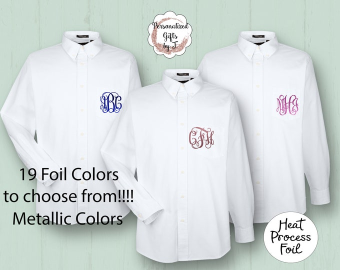 Bridesmaid Shirt, Getting Ready Shirt, Foiled Metalic Button Up Shirt, Personalized Oversized Shirt, Monogram Bridesmaid Shirt, Bridal Party