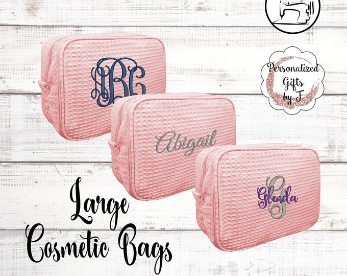 Blush Personalized Makeup Bag, Bridesmaid Cosmetic Waffle Bag, Bridesmaid Bag, Monogrammed Bag, Personalized Bridal Party Gift
