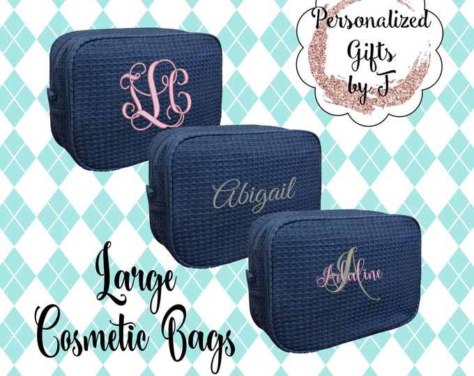 Set of 3, 4, 5, 6 Navy Bridesmaid Makeup Bag, Bridesmaid Cosmetic Waffle Bridesmaid Bag, Monogrammed Bag, Personalized Bridal Party Gift