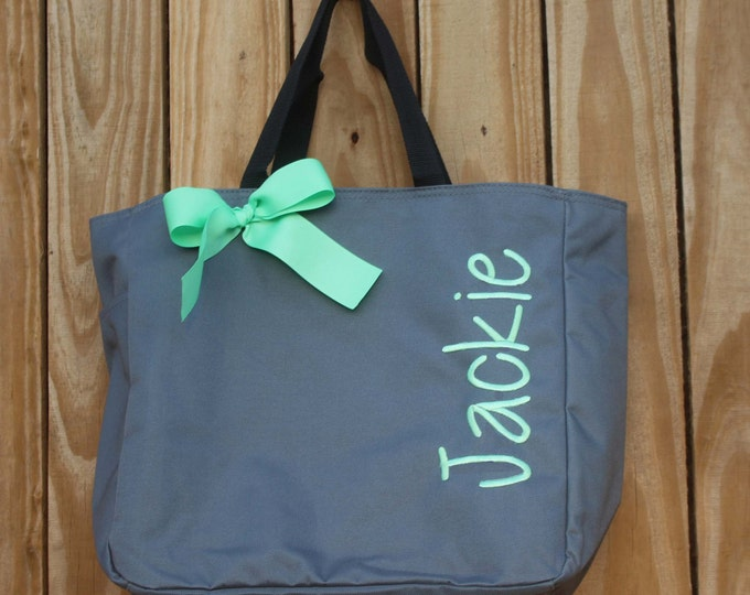 6 Personalized Bridesmaid Gift Tote Bags, Embroidered Tote, Monogrammed Tote, Bridal Party Gift