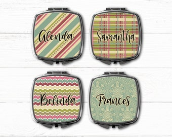 Bridesmaid Gift, Retro Personalized Compact Mirror, Personalized Gift, Personalized Bridesmaid Gift Ideas, Compact Mirror