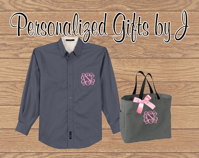 Bridesmaid Gift Set, Over Sized  Shirt and Tote Set, Getting Ready Gift, Bridal Party Gift, Wedding Party Gift, Personalized, Monogrammed