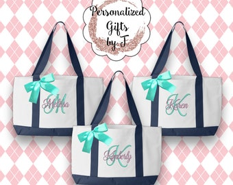 9 Bridesmaids Gifts, Personalized Monogrammed Tote, Bridesmaid Tote, Team Bride, Tote Bags, Embroidered Tote, Bridal Party Gift (TT1)