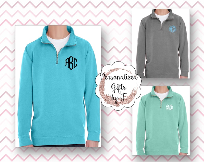Comfort Colors Sweatshirt Monogram, Monogrammed Quarter Zip, Embroidered Quarter Zip Sweatshirt, Quarter zip pullover, Quarter Zip Sorority
