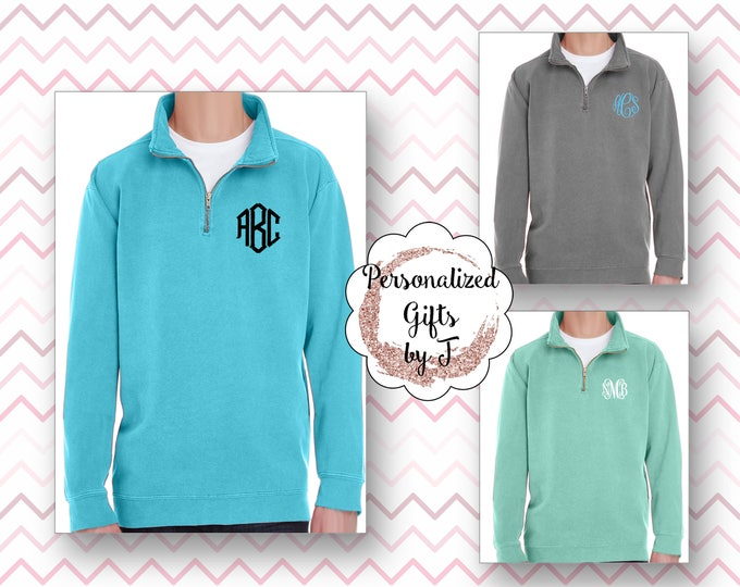 Monogrammed Quarter Zip, Comfort Colors Quarter Zip, Embroidered Quarter Zip Sweatshirt, Quarter zip pullover, Quarter Zip Sorority