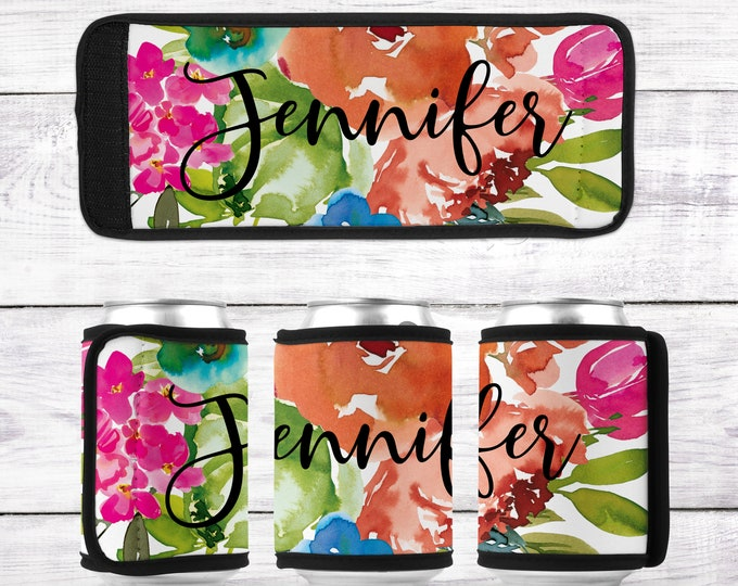 Bridesmaid Gift  Can Wraps, Personalized Can Wrap, Floral Can Wrap, Custom Can Hugger CAN- DES5