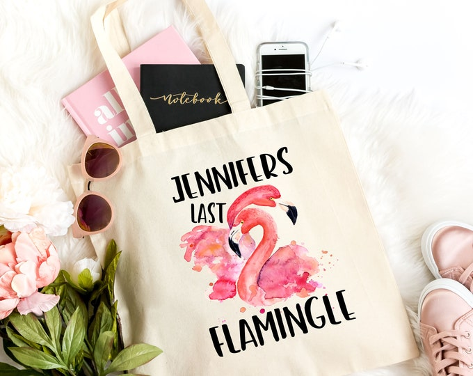 Bachelorette Party Personalised Tote Bag, Flamingo Gift For Her, Last Flamingle  FLAMH1