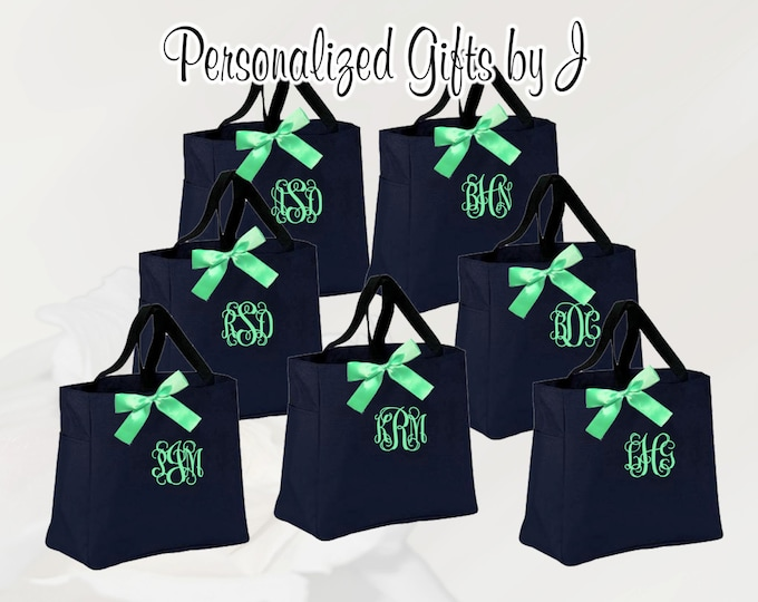 7 Bridesmaid Gift Personalized Tote Bags Monogrammed Tote, Bridesmaids Tote, Personalized Tote, Wedding Totes, Day of Wedding Bag (ESS1)