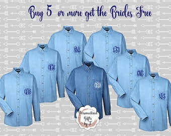 Set of 6, 7,  Monogrammed Denim Shirts, Bridesmaids Shirt, Personalized Button Down Shirt, Bridesmaids Gift, Bridal Party Gifts, Embroidered