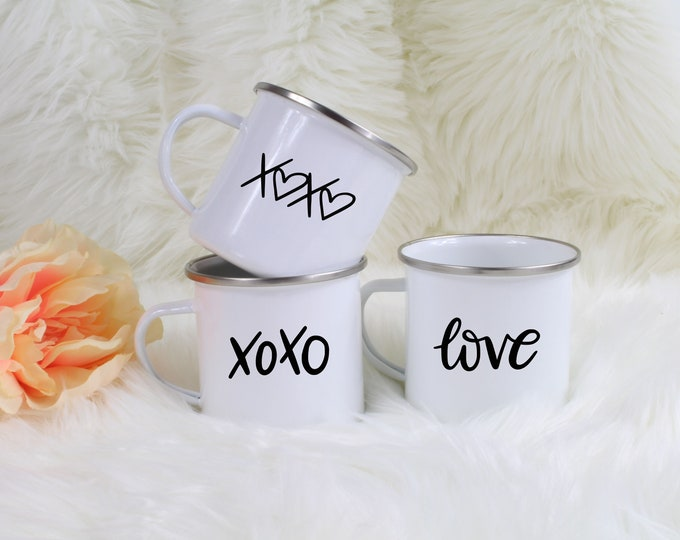 XOXO Mug, Valentine Design Campfire Mug, Valentines Mug, Kisses and Hugs Cup, Love Cup