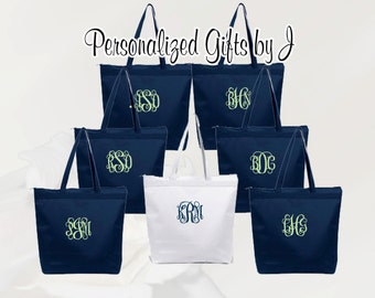 6 Personalized Zippered Tote Bag Bridesmaid Gift Set of 6- Wedding Party Gift- Bridal Party Gift- Initial Tote- Mother of the Bride Gift
